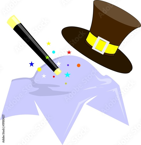 Illustration of a magician's stick, hat and cloth