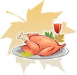 Illustration of a baked turkey in a bowl