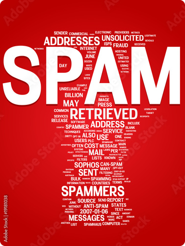 Spam word cloud illustration