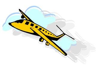 Illustration of an aeroplane in light background