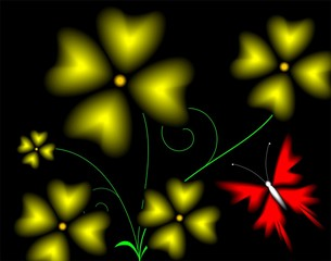 Illustration of flowers in black background
