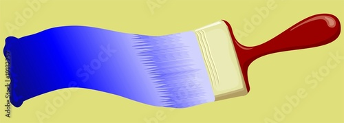 Illustration of painting brush in colour background