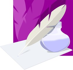 inkwell feather and paper  in a violet design background