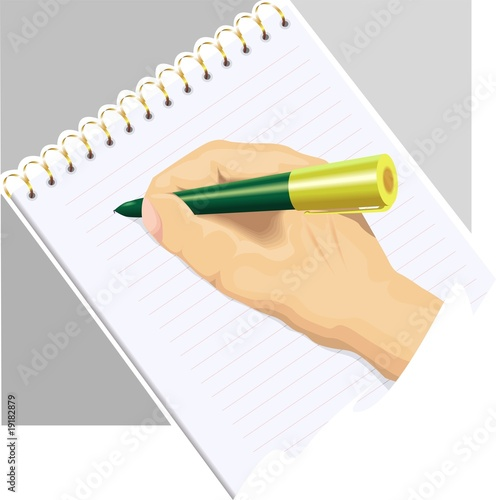 pen hand book in an ash colour background