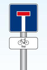 Sackgassenschild / Fahrrad frei
