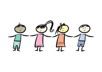 Freunde: Vier Kinder halten sich an den Händen