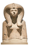 Ancient stone bust of an egyptian goddess poster