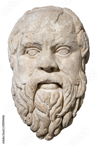 Leinwandbild Motiv Stone head of the greek philosopher Socrates