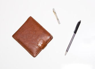 Purse, pen and hair-pin