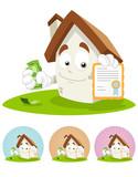 House Cartoon Mascot - certificate poster