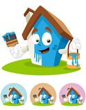 House Cartoon Mascot - painting poster