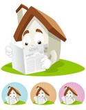 House Cartoon Mascot - Newspaper poster