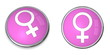Button White Female Gender Sign on Pink-Purple