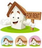 House Cartoon Mascot - For Rent poster