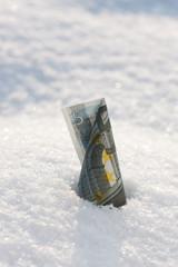 Money rise. Euro banknote