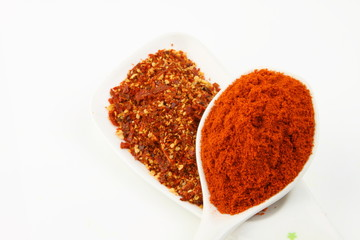 A spoon of red chilli powder