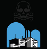 Carbon reduction warning with polluting factory and skull