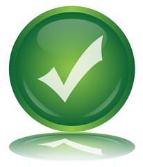 TICK Web Button (OK YES GO Positive Green Vector Reflection)