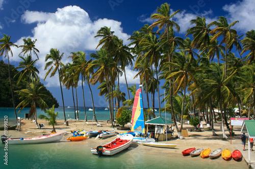 Leinwanddruck Bild Tropical Beach on Marigot bay-St. Lucia