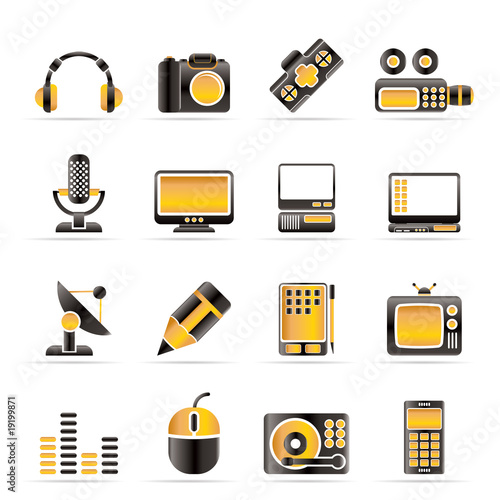 poster of Media equipment icons - vector icon set