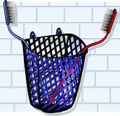 Illustration of Toothbrush in basket