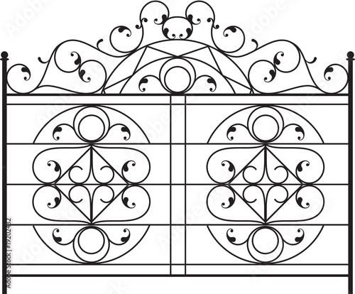 Vector: Wrought Iron Gate, Fence, Fire place grill design
