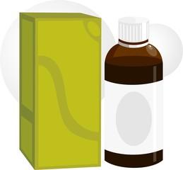 Illustration of medicine bottle  and packet