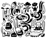 Fototapety Funny doodles set