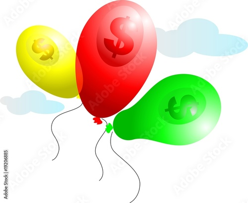 Illustration of balloons with saving symbols