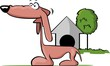 Illustration of dog standing near the house