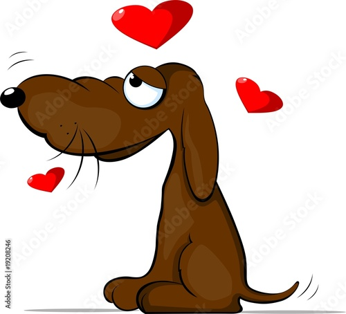 Illustration of brown colour dog with love