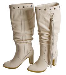 White female boots.