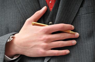 Closeup of a Businessman's pen