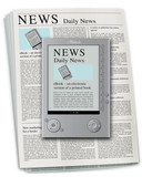 ebook reader, newspaper poster