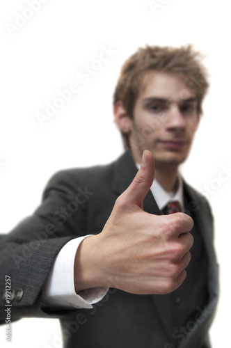 Man iith thumbs up in suit with sample text