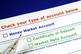 Select your bank account in the deposit slip isolated on blue poster