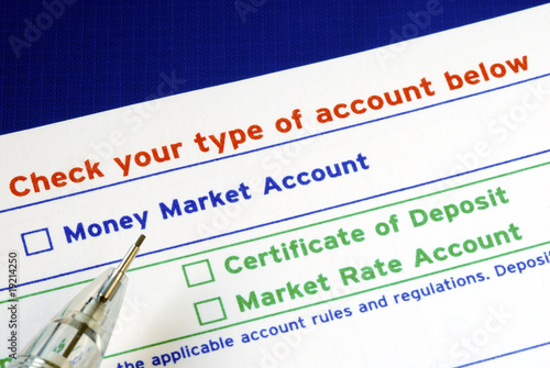 Select your bank account in the deposit slip isolated on blue