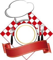 logo vector with plate and hat for restaurant