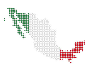 Karte und Fahne von Mexiko