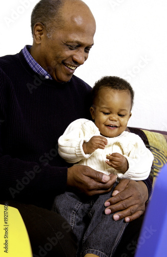 African American Grandpa with grandson