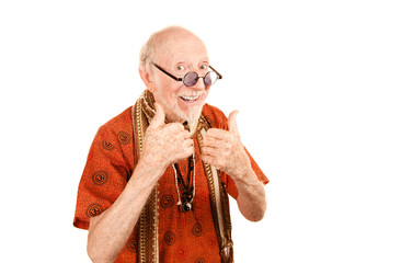 Senior New Age Man Giving Thumbs Up