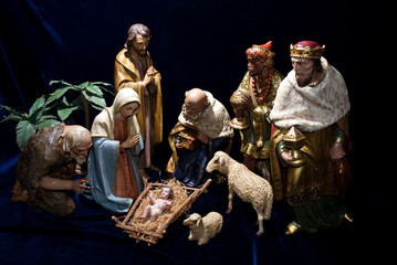Nativity scene including the holy family, wise men & animals