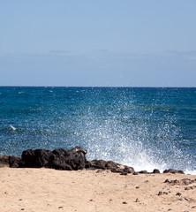 Sanddünen mit Strand im Wind  in Corralejo,Fuerteventura