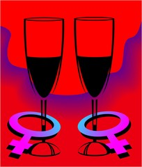 wine glass and male symbol in red background