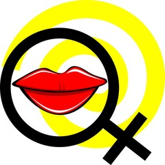 Illustration of male symbol and lips in yellow background