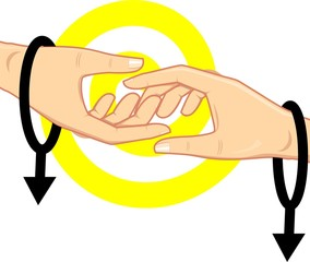 Illustration of hands and male symbol in white background
