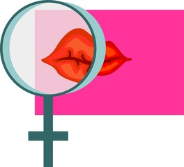 lips and male symbol in a rose colour background