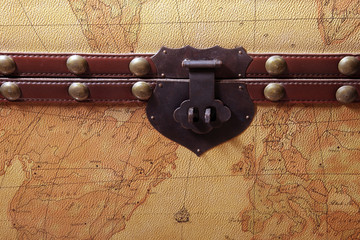 map on suitcase