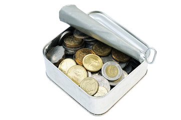Coins in a tin can