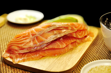 Raw filet of salmon